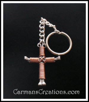 Copper Horseshoe Nail Cross Key Chain
