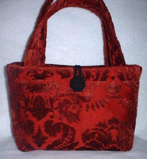 Dark Red Velvet Party Handbag