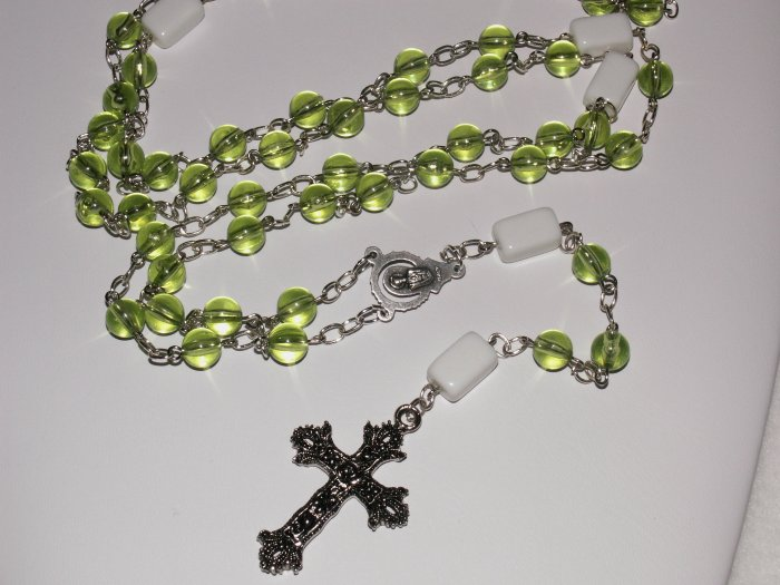 Green and White Glass Bead Rosary SRAJD