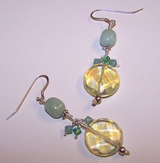 Amazonite and Faceted Lemon Quartz Earrings with Swarovski Crystal Cascade Earrings