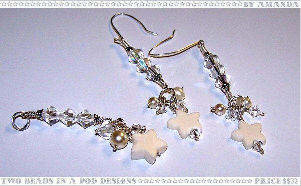 Moonlight Swarovski Crystals, Freshwater Pearls, and White Bone Stars Earrings and Pendant Set
