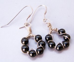 Sterling Silver wrapped Black Swarovski Pearl Loop Earrings