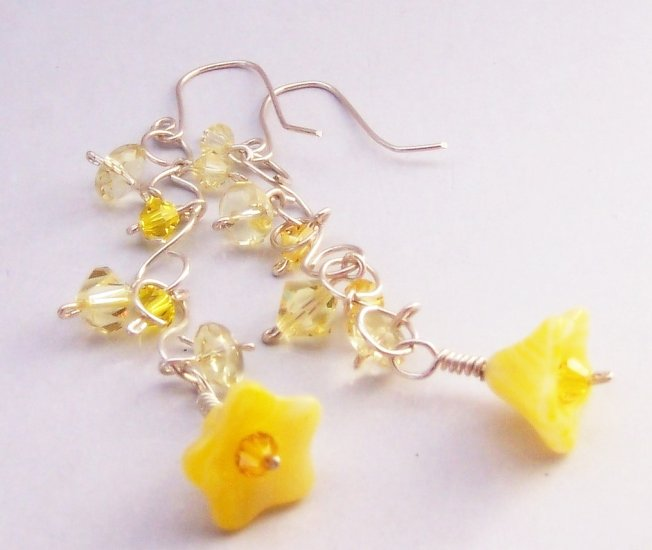 Yellow Glass Bell Flower, Swarovski Crystal, & Sterling Chain Earrings