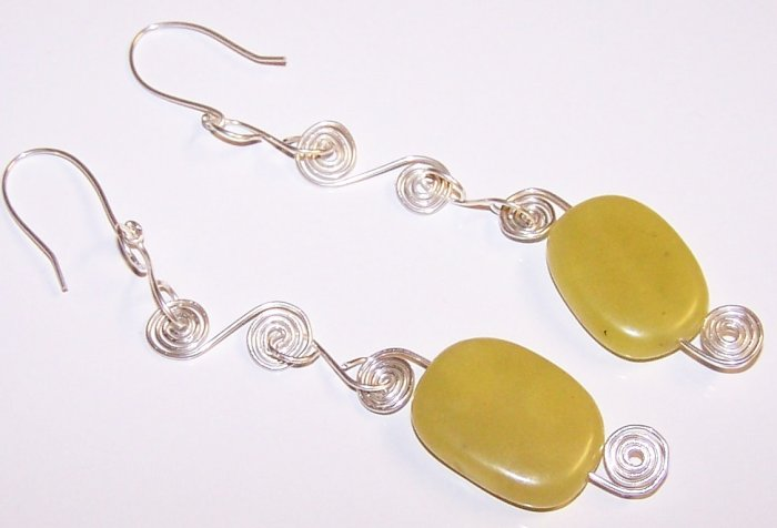 Olive Jade Nugget and Sterling Silver Coil Swirly Earrings