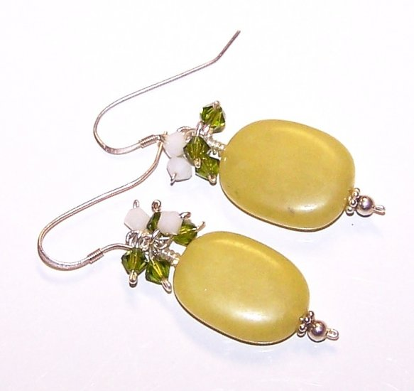 Olive Jade Nuggets & Swarovski Crystal Earrings