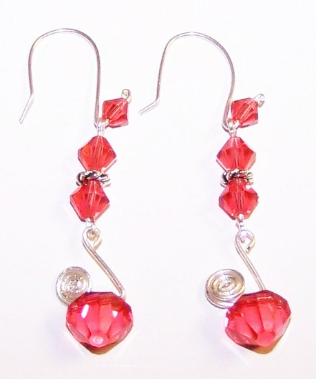 Padparadscha Swarovski Crystals Unique Swirl Earrings