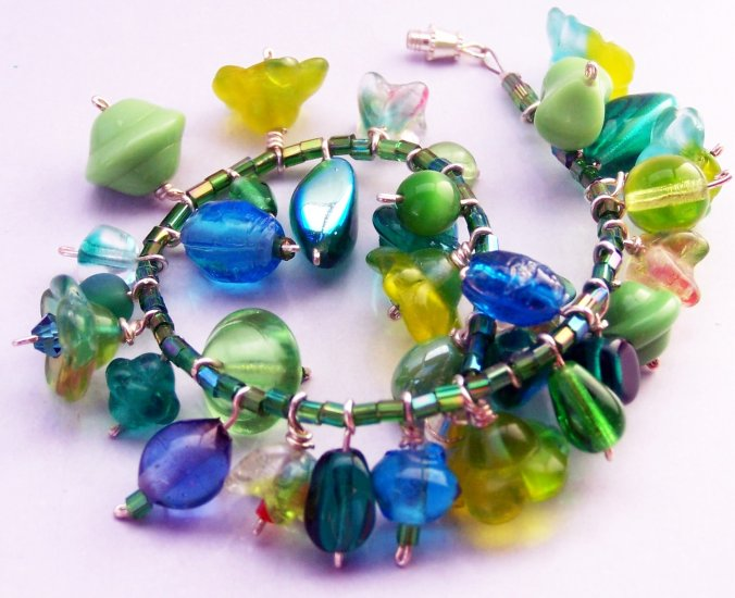 Green Blue Turquoise Glass Beads Assorted Charms Bracelet