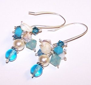 Aqua Czech Druks, Mother of Pearls, Swarovski Pearls & Crystals Earrings