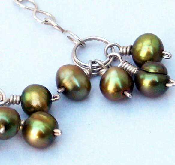 Olive Freshwater Pearl Clusters and Large Sterling Link Chain Earrings