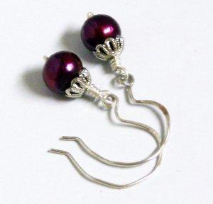 Rich Berry Freshwater Pearls Ornate Sterling Silver Earrings