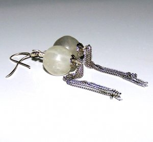 Fluorite and Sterling Silver Chain Earrings