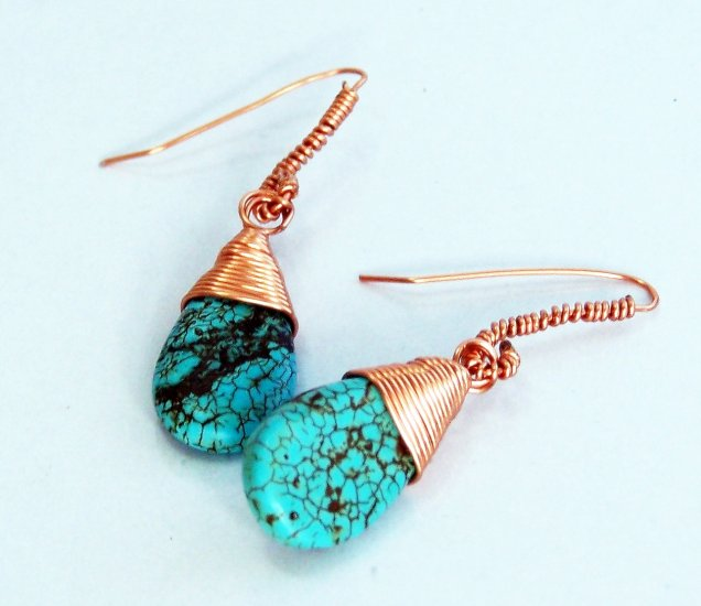 Bright Turquoise Briolette Wire-Wrapped Copper Earrings