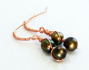 Rich Green Bronze Pearl Wire Wrapped Copper Earrings