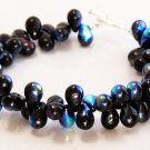 Black Aurora Borealis Dew Drops Toggle Bracelet