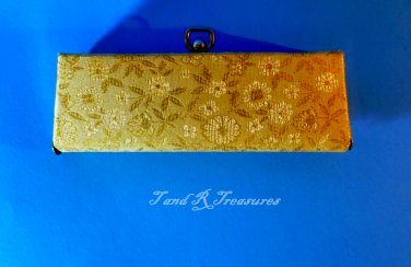1950's Gold and White Eyeglasses Case with Metal Closures