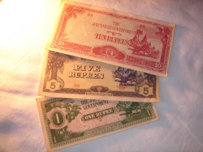 JAPANESE 1,5,10 RUPEE NOTE BURMA OCCUPATION WW2