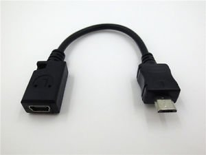 Micro USB Male to Mini USB Female OTG Plug Charger Adapter Converter Data Cable
