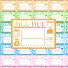 Bill Due Printable Planner Stickers Payment Colors PDF Decorative Planner Sticker