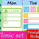 Clinic Printable Planner Stickers Health Doctor Medical Color Labels Set PDF