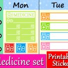 Pill Drug Medication Printable Planner Stickers Take Medicine Color Labels Set PDF