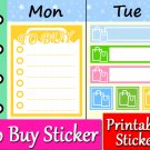 To Buy Printable Planner Stickers Shopping List Color Labels Set PDF