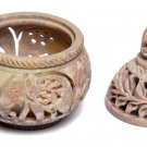 """3""""x3""""x4"""" Marble Candle Holder Real Stone Elephant Hand Carved Handmade Gift"""