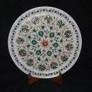 "12"" Decorative Handmade Marble Plate Malachite Mosaic Paua shell Marquetry"