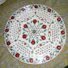 """15"""" Marble Plate Filigree Turquoise Hakik Floral Art Handmade Home Decor Gifts"""