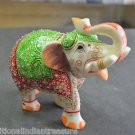 "6"" White Marble Elephant Color Hand Painted Handmade Home Decorative Gifts Arts"