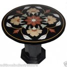 "23.5"" Black Round Marble Top End Table Top Handmade Mosaic Home Decor With Stand"
