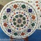 "15"" Marble Plate Hakik Pietra Dura Lapis Lazuli Marquetry Malachite Decor Gifts"