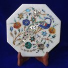 """7"""" Marble Plate Peacock Art Marquetry Floral Mosaic Pietra Dura Home Decor Gifts"""