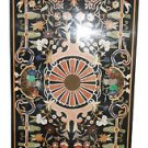 6'x3' Black Marble Large Dining Table Top Very Fine Handmade Marquetry Birds Art