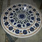 """30"""" Marble Coffee Table Top Dining Pietra Dura Lapis Lazuli Floral Home Decor"""