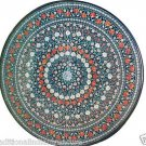 Size 4'X4' Marble Round Dining Table Top Carnelian Gems Mosaic Home Decor H938A