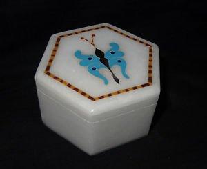"3""x2"" Marble Jewelry Box Turquoise Pietra Dura Trinket Handmade Inlaid Gifts Art"