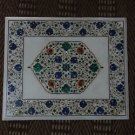 Rare Marquetry Inlaid White Rectangular coffee Table Top Handmade Pietra Dura