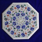 """20"""" Pietra Dura Handmade Marquetry Marble Table Top Floral Design Mosaic Inlay"""