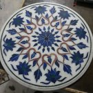 """24"""" Marble Coffee Center Table Top Marquetry Inlaid Mosaic Lapis Lazuli Art Deco"""