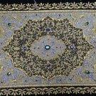 1.5'x2' Zardozi Jewel Carpet Handmade Wall Decoration with Traditional Stone Art