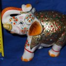 "5"" Marble Turning Gold Painted Jaipur Elephant Handmade Safari Home Decor Gifts"