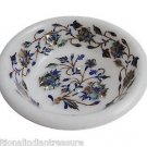 White Marble Dry Fruit Bowl Real Stone Inlaid Pietradure Art Table Decor Gifts
