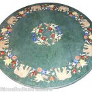 """30"""" Green Marble Table Top Lapis Lazuli Marquetry Inlay Work Elephant Decor"""
