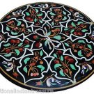 "36"" Black Marble Coffee Dining Table Malachite Inlay Work Handmade Outdoor Décor"
