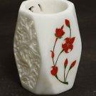 White Marble Pen Holder Stand Pietra Dura Hakik Home Decor Handmade Art