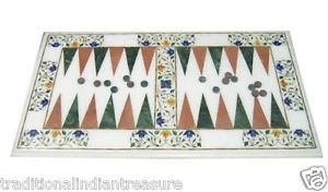 "12""x20"" Marble Side Table Top Malachite Pietra Dura Backgammon Board Game Art"