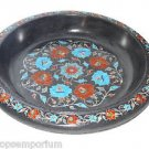 Black Marble Fruit Bowl Carneian Inlay Mosic Floral Marquetry Table Decor Gifts
