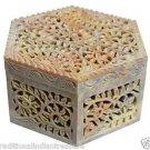 "6""x6""x3.5"" Hexagon Marble Jewelry Box Trinket Collectible Handmade Decor Gifts"