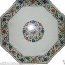 """20"""" White Marble Coffee Center Table Top Hakik Inlay Work Mosaic Outdoor Decor"""