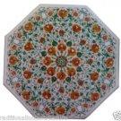 "24"" White Marble Coffee Corner Table Top Handmade Mosaic Malachite Home Decor"